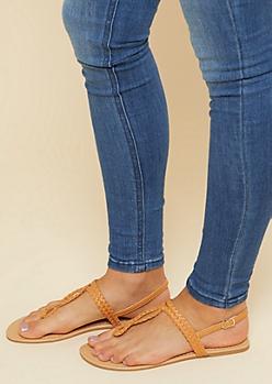 Tan Braided Loop Slingback Sandals