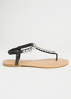Black Gemstone T Strap Ankle Sandals