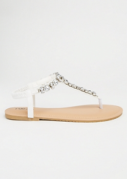 White Gemstone T Strap Ankle Sandals