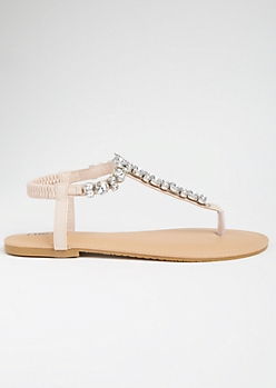 Pink Gemstone T Strap Ankle Sandals