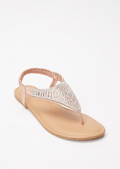 Pink Crystal Medallion T Strap Sandals