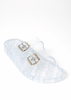 Clear Sparkle Double Buckle Slides