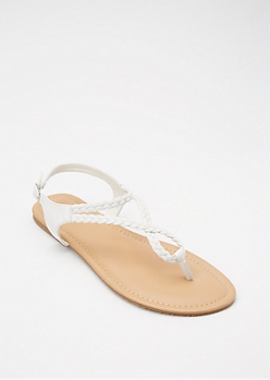 White Braided Infinity Strap Sandals