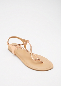 Rose Gold Braided Infinity Strap Sandals