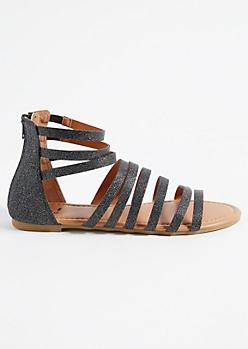 Black Shimmer Caged Gladiator Sandals