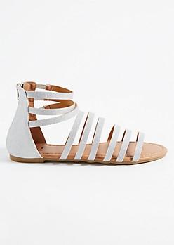 Silver Shimmer Caged Gladiator Sandals