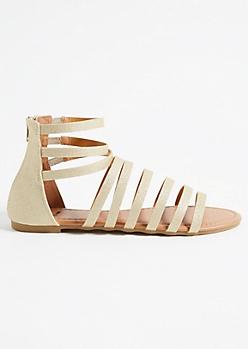 Gold Shimmer Caged Gladiator Sandals