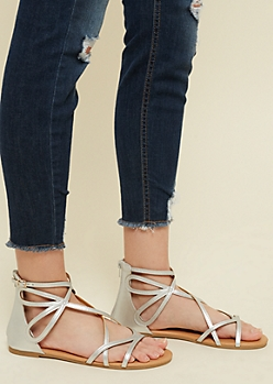 Silver Cross Strap Gladiator Sandals