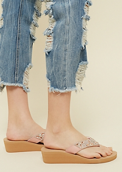 Pink Faux Leather Gem Wedge Sandals