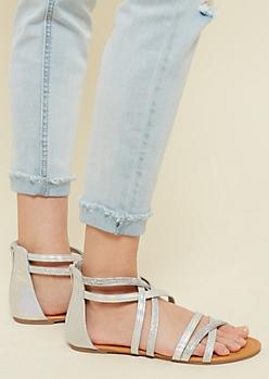 Silver Glitter Crisscrossing Gladiator Sandals