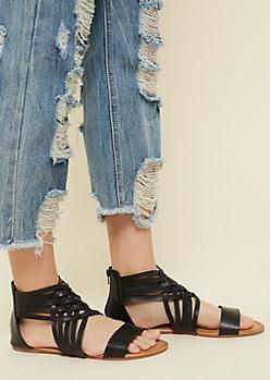 Black Basket Woven Gladiator Sandals