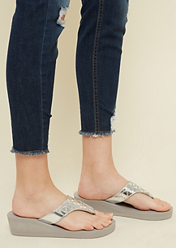 Gray Faux Leather Geo Wedge Sandals