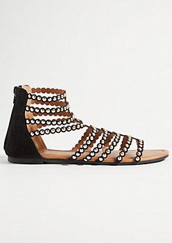 Black Studded Strap Gladiator Sandals