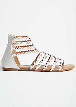 White Studded Strap Gladiator Sandals