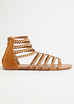 Cognac Studded Strap Gladiator Sandals