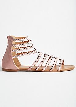 Pink Studded Strap Gladiator Sandals