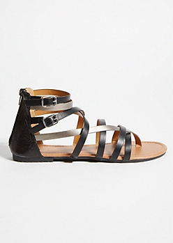 Black Metallic Strappy Gladiator Sandals