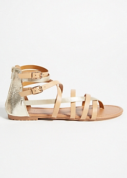 Tan Metallic Strappy Gladiator Sandals