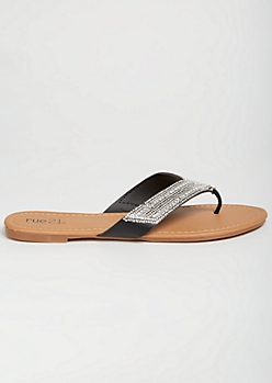 Black Faux Leather Gemstone Flip Flops