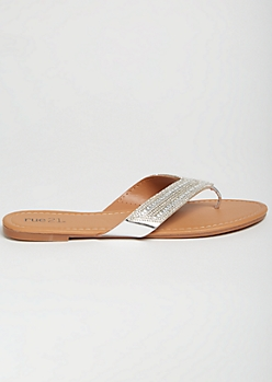 Silver Metallic Gemstone Flip Flops