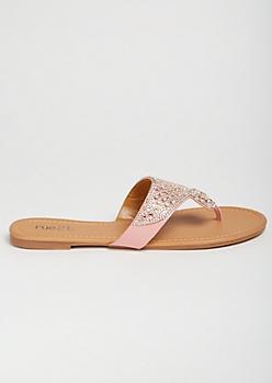 Pink Gemstone Medallion Flip Flops