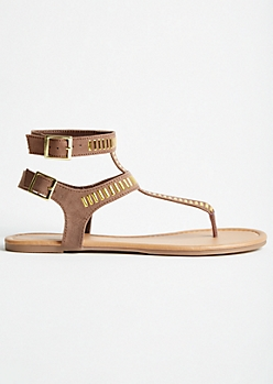 Gold Studded Double Ankle T Strap Sandals
