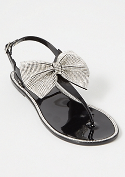 Black Bling Bow T Strap Sandals