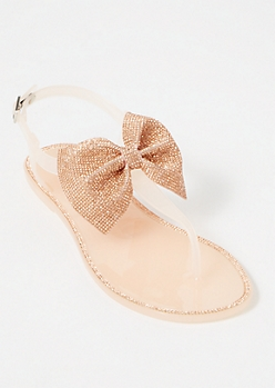 Rose Gold Bling Bow T Strap Sandals