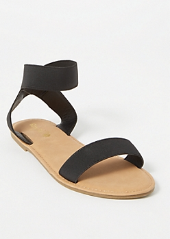 Black Elastic Band Sandals