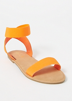 Neon Orange Elastic Band Sandals
