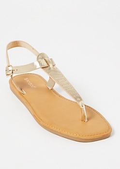 Tan Studded T Strap Sandals
