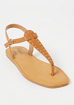 Metallic Gold Studded T Strap Sandals
