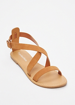 Tan Buckled Crisscross Strap Sandals