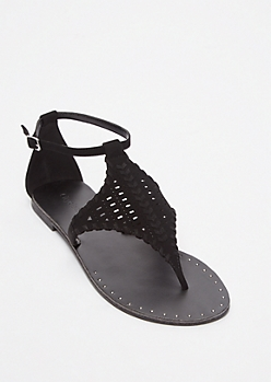 Black Faux Suede Festival Sandals