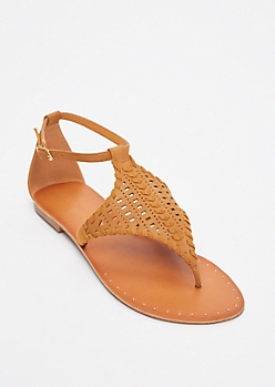 Tan Faux Suede Festival Sandals