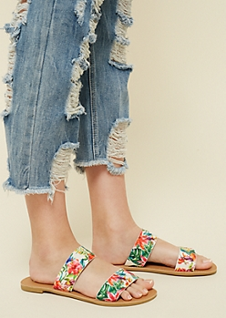 Tropical Floral Print Slip On Sandals