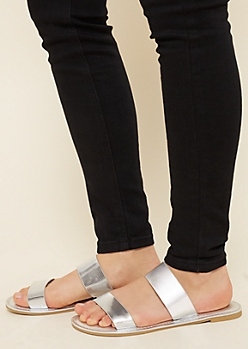 Metallic Silver Ribbed Slide Sandals