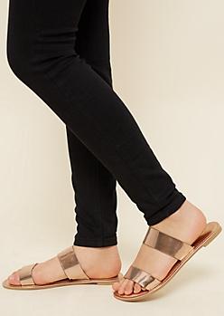 Metallic Rose Gold Ribbed Slide Sandals
