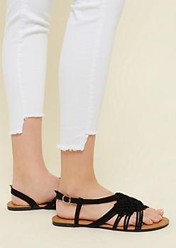 Black Braided Knot Slingback Sandals