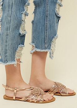 Rose Gold Braided Knot Slingback Sandals