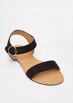 Black Round Buckle Sandals