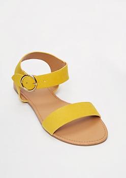 Mustard Round Buckle Sandals