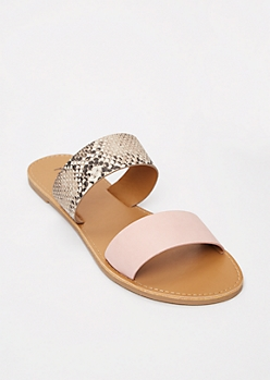 Pink Snakeskin Print Two Strap Sandals