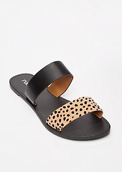 Black Animal Print Two Strap Sandals