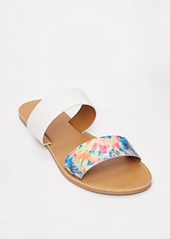 Rainbow Tie Dye Two Strap Sandals