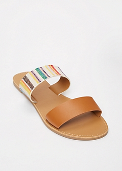 Cognac Striped Two Strap Sandals