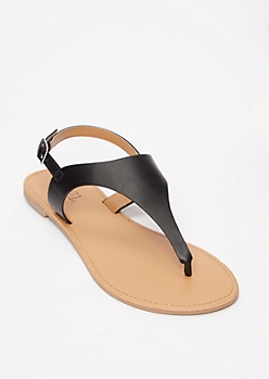Black T Strap Ankle Buckle Sandals