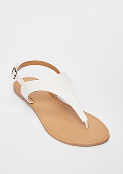 White T Strap Ankle Buckle Sandals