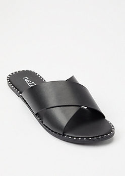 Black Studded Crisscross Strap Sandals