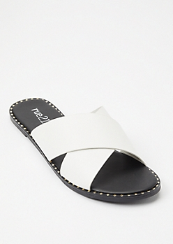 White Studded Crisscross Strap Sandals